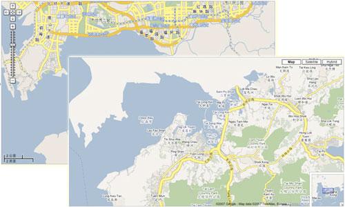 Comparación entre google.cn y maps.google.com