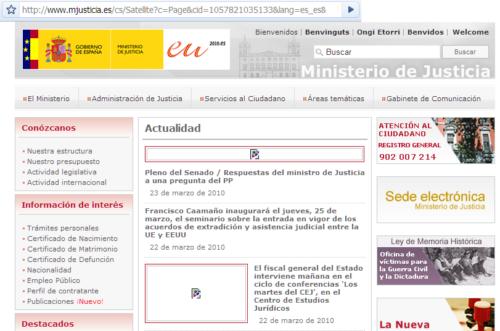 Web Ministerio de Justicia con imágenes que no aparecen