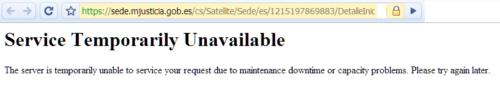Web Ministerio de Justicia no funciona