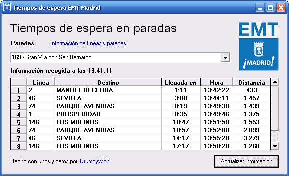 Captura aplicación Tiempos de Espera EMT