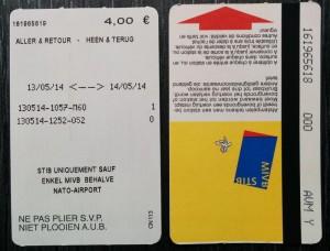 Billete de ida y vuelta del tranvía de Bruselas